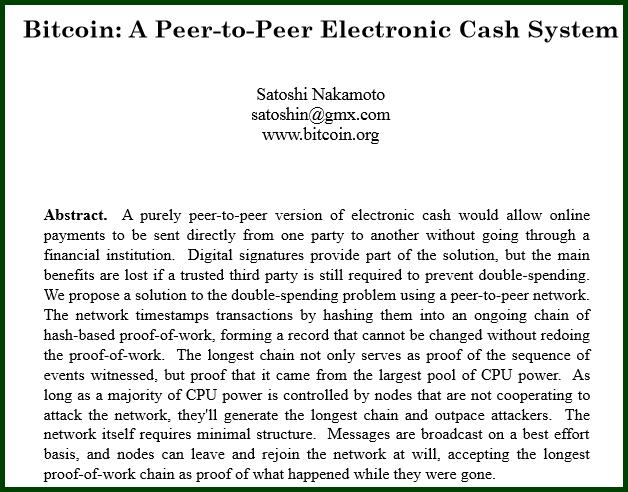 satoshi nakamoto bitcoin paper